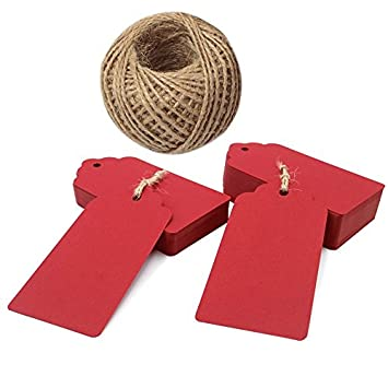 Kraft Paper Tags, 100 PCS Gift Tags, Red Christmas Tags, Rectangle Craft Hang Tags with 100 Feet Natural Jute Twine JIJIA