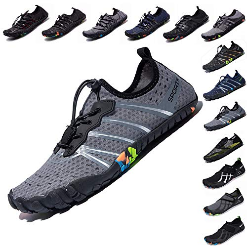 (LINGTOM Mens Womens Aqua Water Shoes Quick Dry Barefoot Sports Exercise for Walking Swimming Diving Beach Surf Pool Yoga,Grey 8 M US Women / 6.5 M US Men)