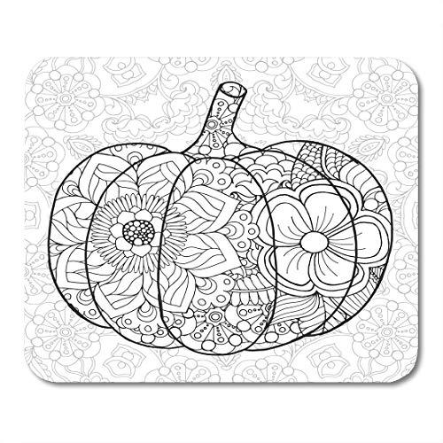 Emvency Mouse Pads Zentangle Pumpkin Black White Traditional