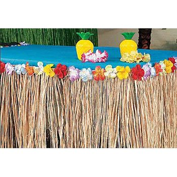 Natural Raffia Flowered Table Skirt by Fun Express (Skirt Flowered Table)