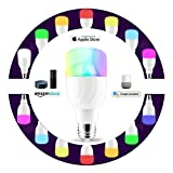 Wifi Led Light Bulb, Smart Dimmable Multicolored LED Bulbs Works with Amazon Alexa and Google Home, RGB Night Light and Soft White 5000K, E26/E27 Screw, Smart Phone Controlled Home Lighting by Cotify