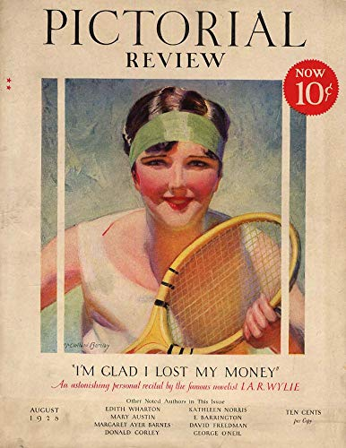 Mcclelland Frog - PICTORIAL REVIEW COVER 1928 woman tennis player by McClelland Barclay