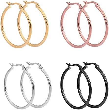 Paxuan Mens Womens 4 Pairs Surgical Stainless Steel Hypoallergenic Round Hoop Earrings Set 30MM