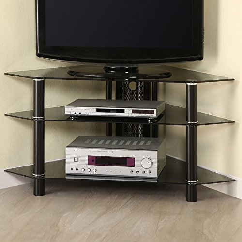 """Latitude Run Pinson 44"""" Corner TV Stand, Ample Storage Space for AV Components, Features Cable Management (Black)"""