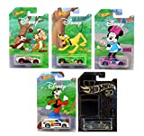 Set of 5 Hot Wheel 2019 Disney Anniversary 90th Mickey Mouse Exclusive Edition with Black & Gold Bonus Die-Cast Vehicles 1:64 Scale Gift Pack Collectible