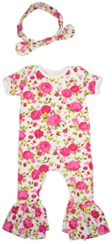 Unique Baby-Girls Floral Bell Bottom Onesie with Matching Headband 12-18 months Vintage