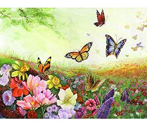 Jigsaw Puzzles 1000 Piece Wooden Puzzle DIY Flower and Butterfly Wood Unique Game Toy Home Decoration Art ()