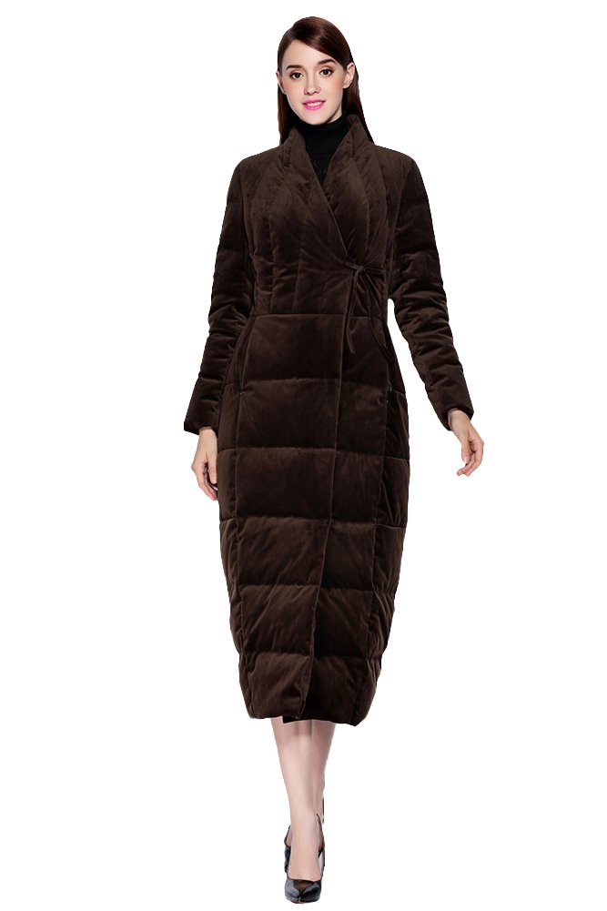queenshiny New Style Women's Winter Outwear Warm Long Downcoat Brown S(4-6) by Queenshiny