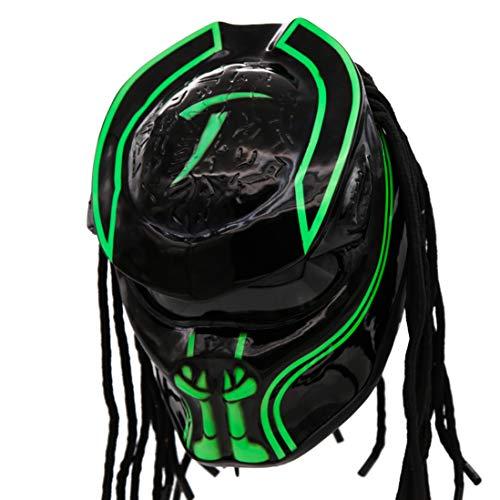 Predator Motorcycle Helmet - DOT Approved - Unisex - Alien Green Oblivion