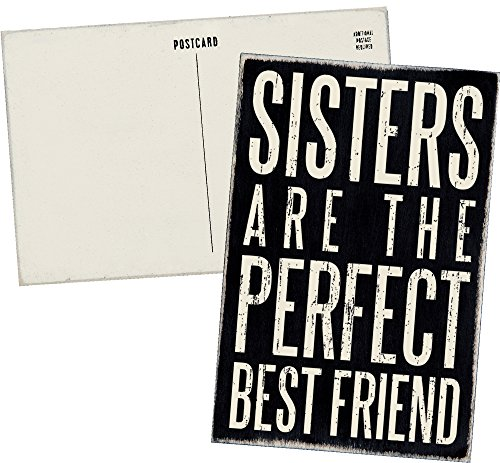 Sisters Are The Perfect Best Friend - Mailable Wooden Greeting Card for Birthdays, Anniversaries, Special Occasions or Just -