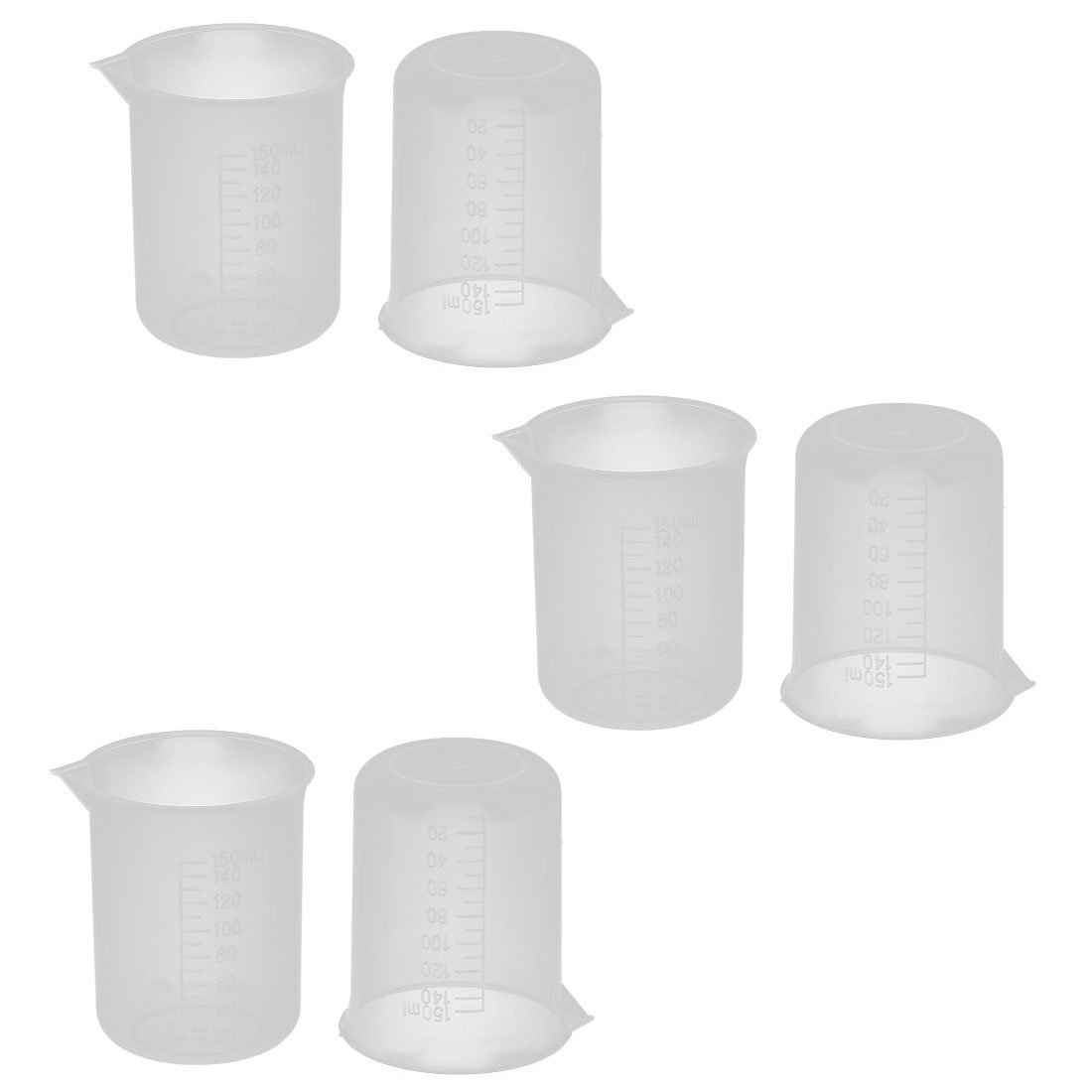sourcingmap® Plastic Science Laboratory Water Liquid Measuring Cup Beaker 150ml 6 Pcs US-SA-AJD-173409