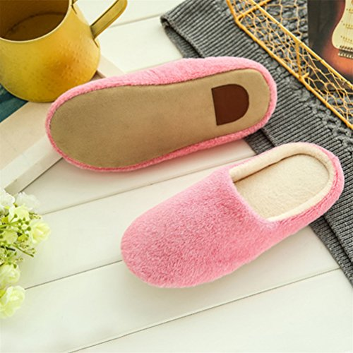 Bangle009 Unisex Autumn Winter Warm Soft Indoor Non-Silp Pure Color Slippers Pink k3RJNbk