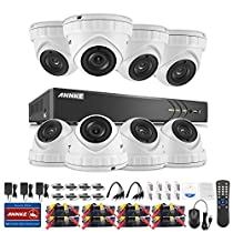 ANNKE HD-TVI 3MP License Plate Security Camera System, 8CH 5-in-1 Video Recorder and (8) 3-Megapixel Outdoor Metal Dome Cameras, Motion Detection, Super Night Vision-NO HDD