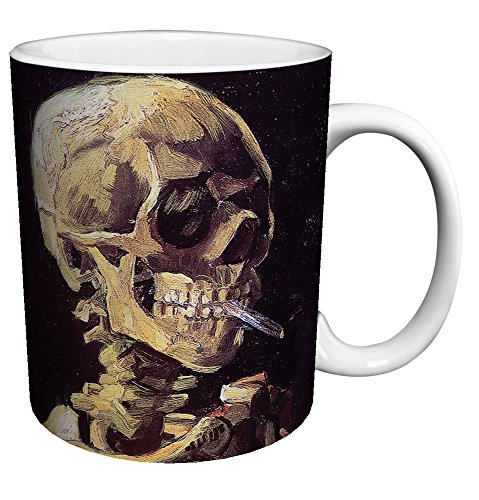 Vincent Van Gogh Skull Cigarette Fine Art Ceramic Gift Coffee (Tea, Cocoa) 11 Oz. Mug