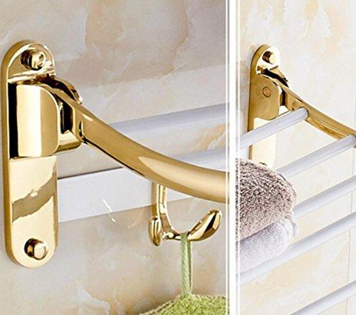 GL&G European luxury white copper Bathroom Bath Towel Rack fold Wall Mount Double Towel Bar Bathroom Storage Organizer Shelf Bathroom Accessories Bathroom Shelves by GAOLIGUO (Image #1)