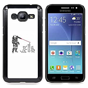 "Qstar Arte & diseño plástico duro Fundas Cover Cubre Hard Case Cover para Samsung Galaxy J2 / J200 (Gatos Predator - Funny"")"