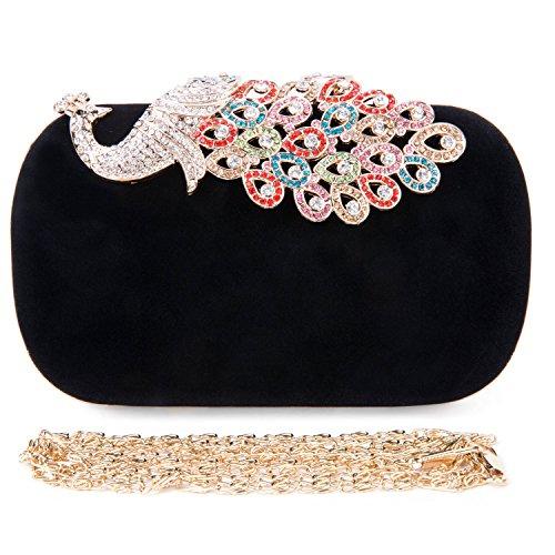 CLOCOLOR Bolso de mano con diamantes cristales brillantes cartera de mano estilo elegante del pavo real bolso de fiesta para mujer, Negro Negro