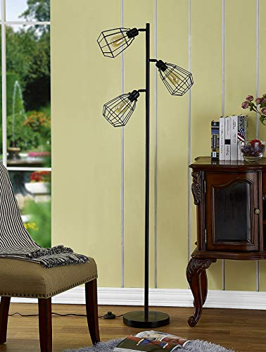 Home Decorators Modern Floor Lamp - LeeZM Modern Tree Floor Lamp Black 3-Light Rustic Tall Standing Up Pole Torchiere Floor Lamps Shade Vintage Industrial Style with Reading Light Bright for Living Rooms, Bedrooms, Office, Corner