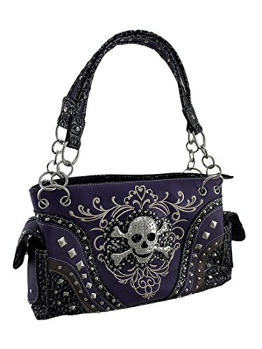 (Embroidered Concealed Carry Rhinestone Skull Studded Purse)