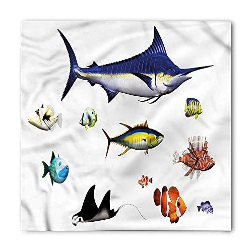 Aquarium Bandana, Hawaiian Pacific Fauna, Unisex Head and Neck Tie,39.339.3inch