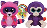 grapes beanie boo - Ty Beanie Boos GRAPES the Monkey and ROXIE the Raccoon Gift set of 2 Plush Toys 6-8 inches tall with Bonus Animals Sticker