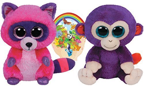 Ty Beanie Boos GRAPES the Monkey and ROXIE the Raccoon Gift set of 2 Plush Toys 6-8 inches tall with Bonus Animals Sticker ()