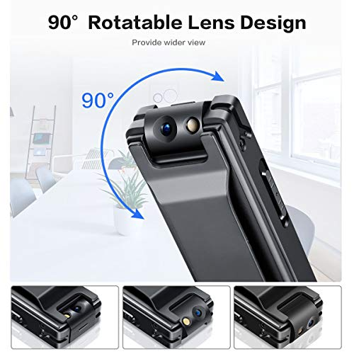 Camera no WiFi Needed - Mini Body Camera Video Recorder - Camera Motion Activated - Nanny Small Cam - Tiny Camera - Small Security Camera for Home and Office (with 32G high-Speed Memory Card)