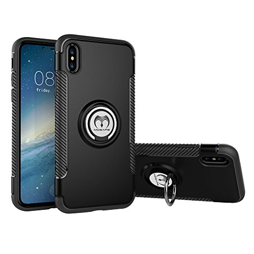 iPhone X Case, Mosafe 360° Ring Holder Kickstand Shockproof Magnetic Protective Back Cover Bumper 5.8 Apple iPhone X (Black)
