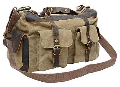 Gootium 40591 Canvas Genuine Leather Vintage Top Handle Handbag