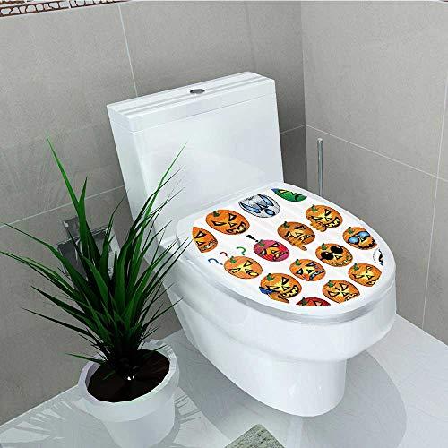 Printsonne Bathroom Toilet seat Sticker Decal Carved Pumpkin Emoji CES Halloween Humor Hipster Msters Harvest Decal Sticker Vinyl W14 x L14 -