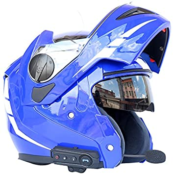 Motocicleta Bluetooth Casco Casco de seguridad con 2 viseras Flip Up casco para Adulto, ...