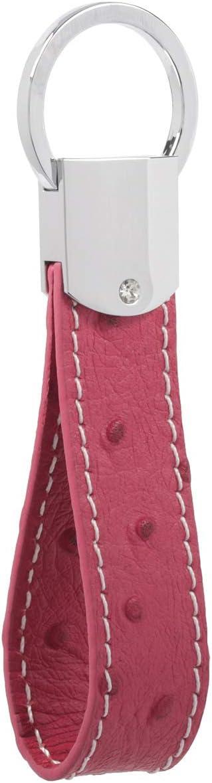 Llavero de cuero italiano DPOB – Diseño simple – Hecho de cuero duradero de calidad premium, rosa roja (Rojo) - YSK-C0829