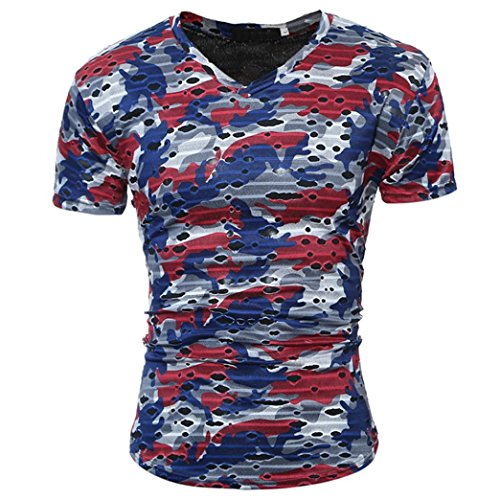 Bluestercool Fashion Casual Hommes T-Shirt Manches Courtes Camouflage Tops Rouge