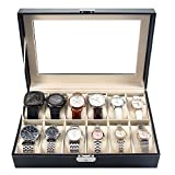 MelodySusie Watch Box Storage Organizer - Display Case with Glass Top Black Bi-cast Leather(12 slots)