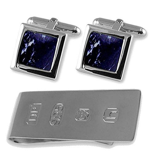 Sterling silver lapis cufflinks James Bond Money Clip Box (Lapis Set Cufflinks)