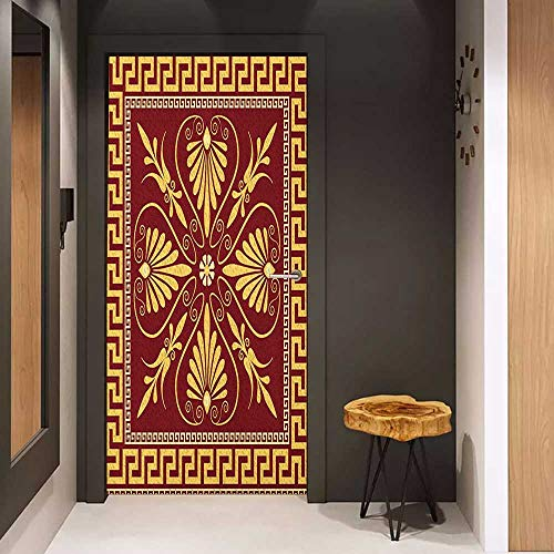 Onefzc Soliciting Sticker for Door Greek Key Old Fashioned Frame Design with The Greek Labyrinth and Curly Leaves Flowers Mural Wallpaper W23.6 x H78.7 Ruby Yellow