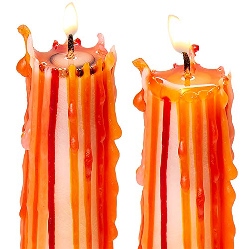 Spooky, Long Burning Halloween Drip Candles 6 Pk. Fun Bleeding Multi Color Candlesticks Add Cool, Creepy Vibe to any Party. Bloody, Dripping Multicolor Candle is Best for Gothic Wine Bottle Decor.