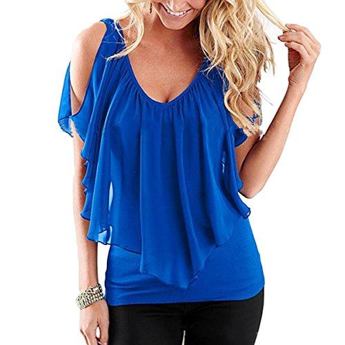 M Blue T en Size Color Froide Femmes Shirt T De Volants Manches Ray Soie Blouse Souris Chauve Shirt paule Mousseline ATUHwtdx