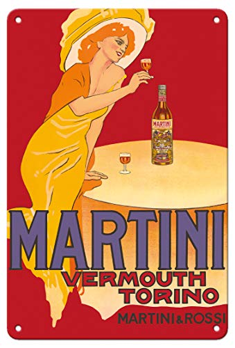 Pacifica Island Art 8in x 12in Vintage Tin Sign - Martini Vermouth - Martini & Rossi - Turin (Torino), Italy - Vintage Advertising Poster by Marcello Dudovich c.1910 ()