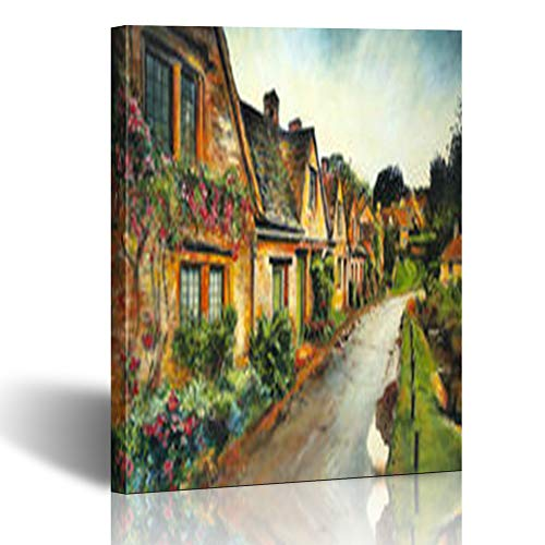 Homeyard Canvas Prints Wall Art Blue English Village European View Street Oil Painting Nature South 12 x 12 Inches Wooden Framed Artwork Painting Home Decor Bedroom Office