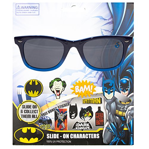 WB DC Comics Batman Kids Children Boys Sunglasses with 100% UV Protection Sunglasses with 3D Slide-on - On Slide Sunglasses