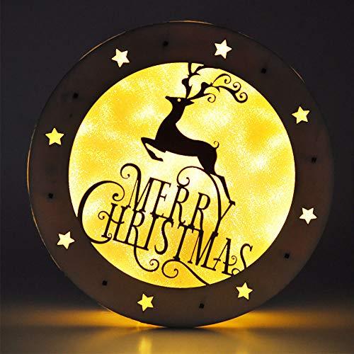 eZAKKA Christmas Reindeer Nightlight Desk Kids Bedroom Decoration Lamp Colorful Santa Wooden Decor by eZAKKA (Image #7)