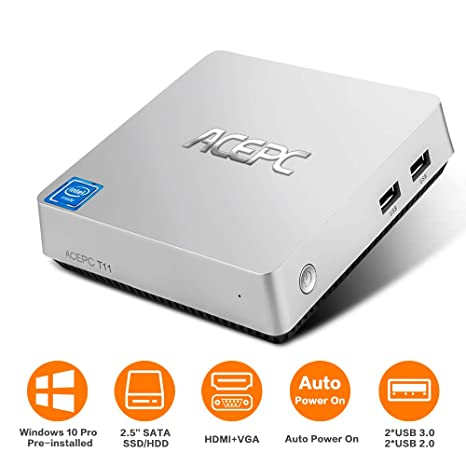 ACEPC T11 Mini PC,Windows 10 Pro Intel Atom x5-Z8350 Fanless Desktop  Computer,4GB DDR3/32GB eMMC, Support 2 5-Inch SATA III Internal SSD/HDD,4K