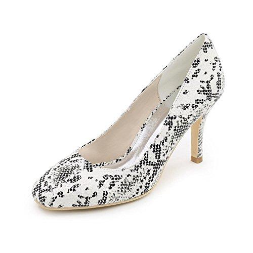 L@YC Frauen Hochzeitsschuhe High-Heels Schuhe Leder / Dinner / Party / Party / Multi-Color / Large Size White