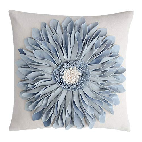 Floral Bed Pillow - OiseauVoler 3D Sunflowers Handmade Throw Pillow Cases Decorative Cushion Covers Canvas Pillowcases Home Sofa Car Bed Room Decor 18 x 18 Inch Blue