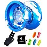 MAGICYOYO Professional yoyos, Top Refers to the King K9 Unresponsive yoyo with 5Strings Bag Glove, Best Halloween Christmas Gift for Friends Families Children (blue&white)