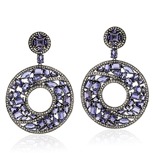 Iolite and Diamond Dangle Earrings in 18K Yellow Gold & Sterling Silver
