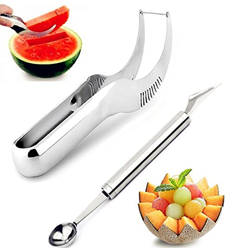 Aphse Watermelon Slicer Server Cutter Right With Melon Baller Scoop Set and Fruit Carving Knife (2 in 1)-Stainless Steel- Comfortable Rubber Grip - Fruit Corer- Smart Kitchen Gadget