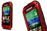 HTC ONE M8 Water Resistant Armor Bumper Case, CHEETOP [Kids Safe] [Build-in Gorilla Glass Screen Protector] Heavy Duty Military Shockproof Hybrid Metal Silicone Tough Iron Cover for HTC M8 (Red)