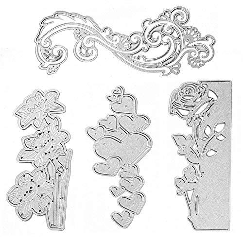 Die Cuts, Rose Flower Die Cuts, Love Heart Cutting Dies and Metal Stencil Template for DIY Scrapbook Album Paper Card Making Craft Decoration